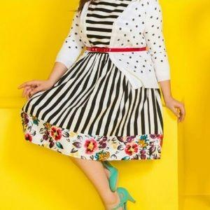 Anthro ModCloth Stripe Floral A-Line Dress